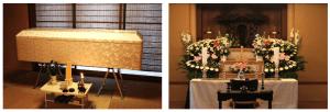 左写真:納棺イメージ、右写真:後葬・本堂花祭壇プランイメージ